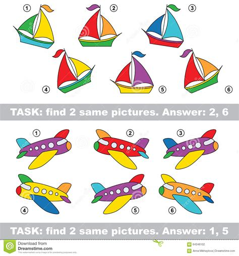 find related colors visual game find hidden pair cartoon vector