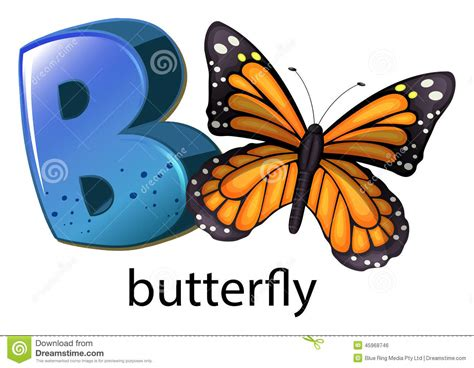 B For a letter b for butterfly stock vector image 45968746