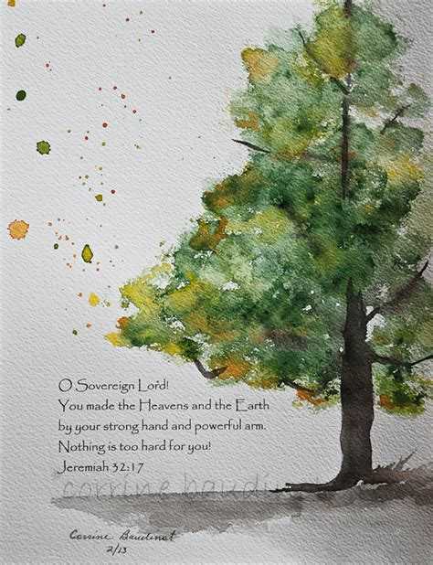 tree in bible watercolor painting of oak tree with bible verse original