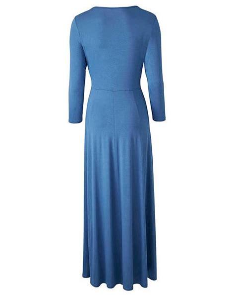 Blue V Neck S M L Dress 31426 denim blue v neck maxi dress l 52 marisota