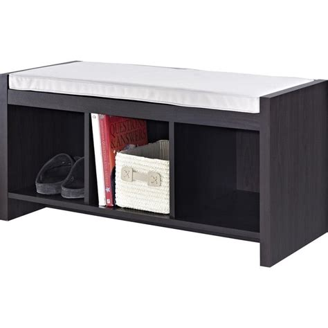 wood storage bench with cushion 3 cubby wood storage bench in espresso with cushion 7522196
