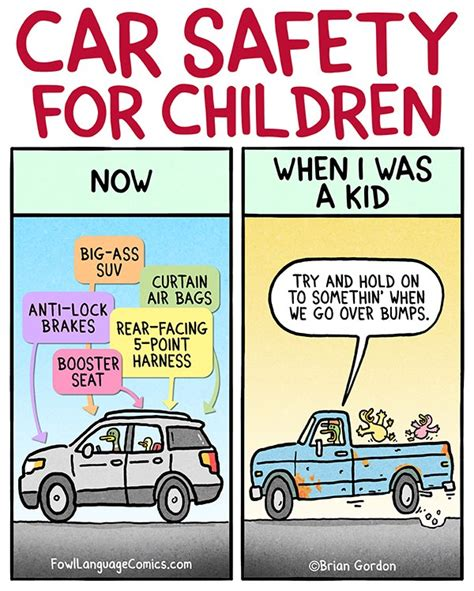 146012 600 then and now cartoons car safety fowl language comics