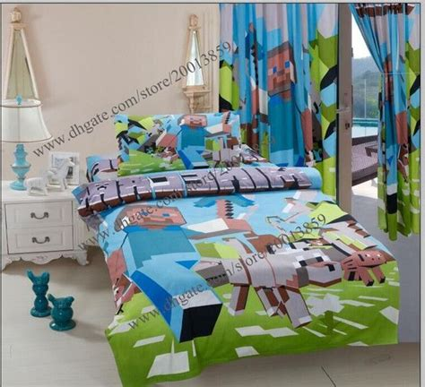 Bed Cover Set 3d Uk 160x200 100 cotton minecraft duvet cover 3d bedding set