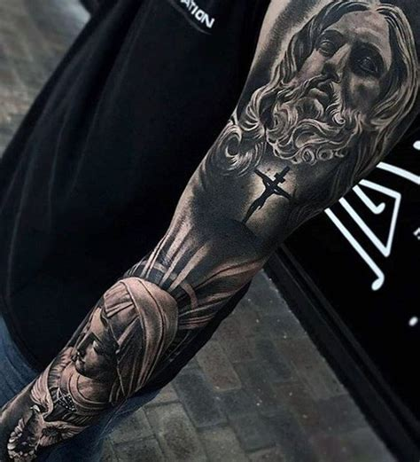 religious themed sleeve fantastic 60 3d jesus designs for religious ink ideas