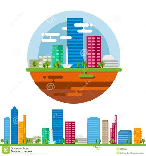 tutorial vector illustrator indonesia jakarta city landscape in vector flat stock vector image