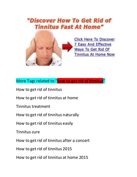 how to get rid of a how to get rid of tinnitus fast naturally and easily at home 2015 20