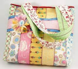 jelly roll tote bag sewing pattern with fabric flower brooch