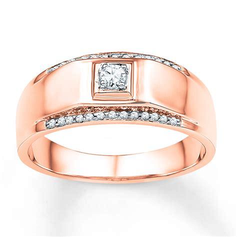 Kay   Men's Wedding Band 1/6 ct tw Diamonds 10K Rose Gold