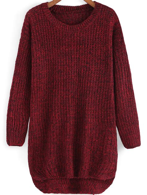 knit sweater neck dip hem knit sweaterfor romwe