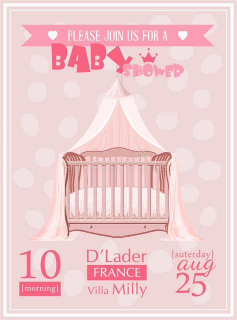 crib card template baby shower invitation template vector illustration