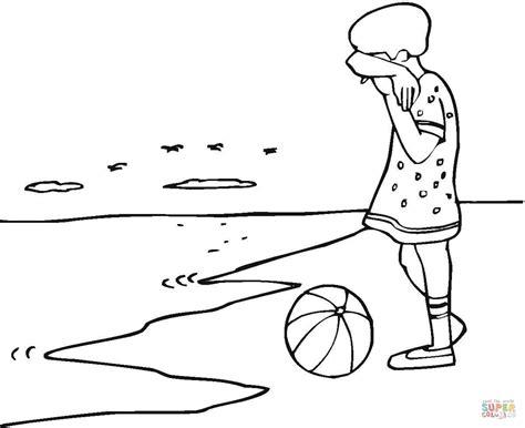 coloring page of sad girl dibujo de ni 241 a triste en la playa para colorear dibujos