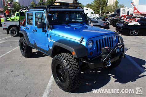 4 door blue jeep 2012 sema blue 4 door jeep jk wrangler