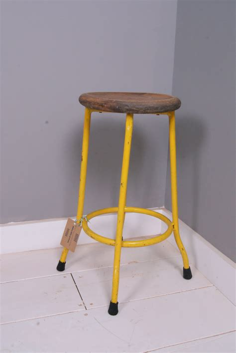 Yellow Stool In Toddlers by Children S Yellow Metal Legged Stool With Wooden Seat