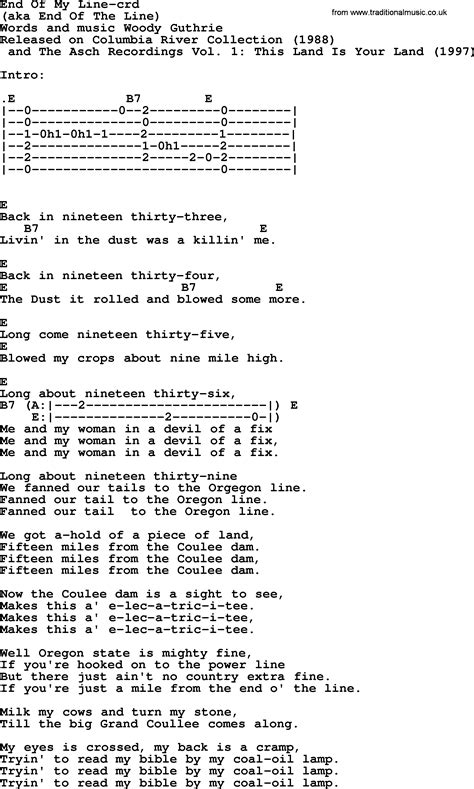 testo in the end woody guthrie song end of my line lyrics and chords