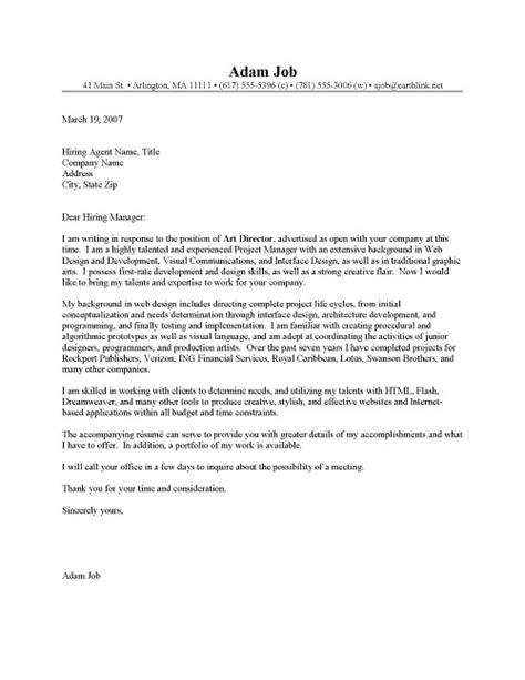Web Art Director Cover Letter Sample   Resume Cover Letter