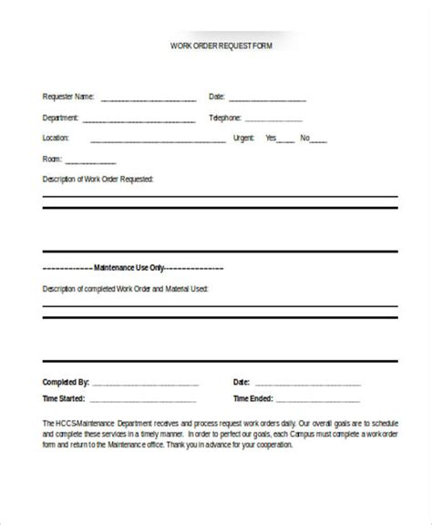 work request form template 22 work order form template