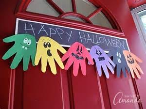 Halloween Decorations For Preschoolers Halloween Handprint Ghoul Banner A Fun Handprint Craft