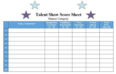 show templates 8 free sle talent show score sheet templates sles
