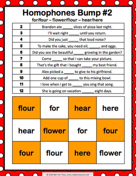 printable homophone games homophones bump games games 4 gains
