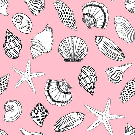 shells fabric // seashell summer beach fabric summer