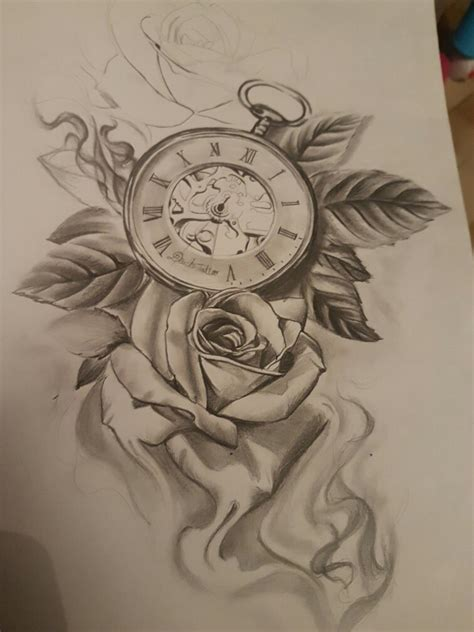 rose and clock tattoo designs clock uhren clock