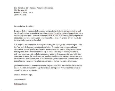 Mod Les De Lettre En Espagnol mod le lettre de motivation chef d quipe