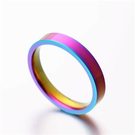colorful rings classic rainbow colorful ring 316 titanium steel