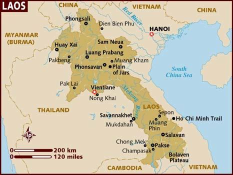 map of laos map of laos