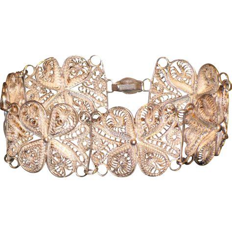 Handmade Sterling Silver - vintage handmade sterling silver link filigree bracelet