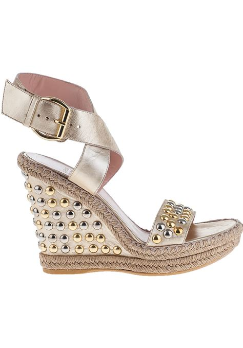 Wedges Selop Cv 05 Gold lyst stuart weitzman hubcapsbullets wedge sandal gold leather in metallic