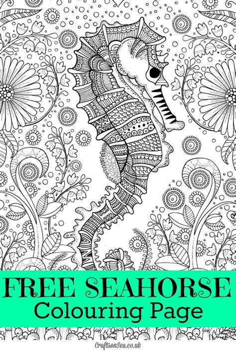 Free Seahorse Colouring Page For Adults Crafts On Sea Free Colouring Pages Uk