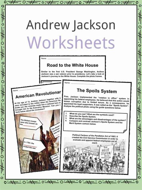Andrew Jackson Worksheet president andrew jackson facts worksheets political
