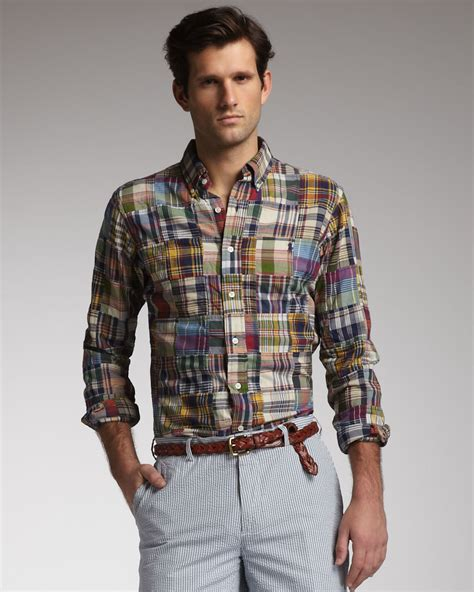 Ralph Patchwork - polo ralph patchwork plaid shirt for lyst
