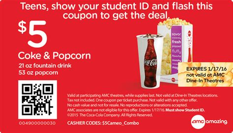 printable theatre vouchers amc movie theatre coupon coke and popcorn only 5 is back