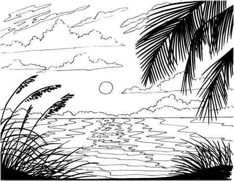 tropical landscape coloring page beach sunrise coloring page embroidery pattern beach art