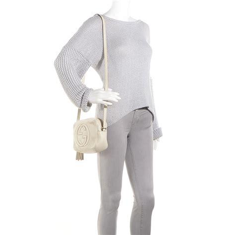 Guc Ci Leather White gucci leather small soho disco bag white 81688