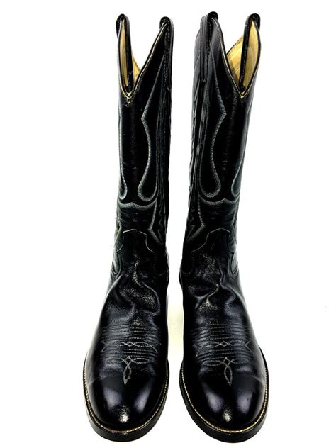 Handmade Leather Boots Usa - m l leddy s handmade western cowboyall leather black
