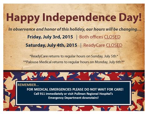 holiday hours   july weekend palouse medical