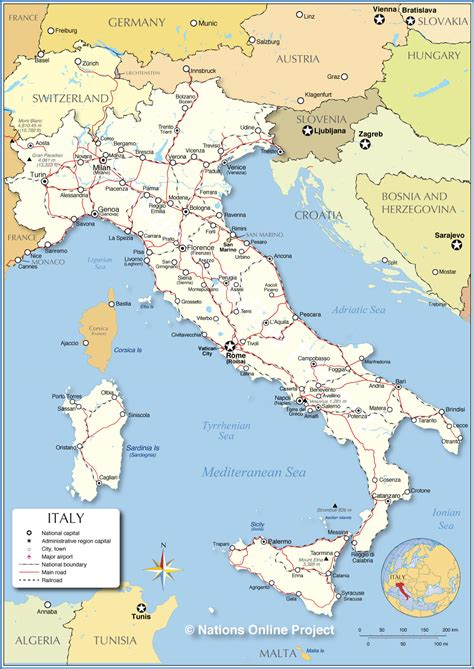 map of and italy the map of italy