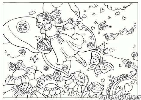 Coloring Page Fairy On A Flower Meadow Meadow Coloring Page