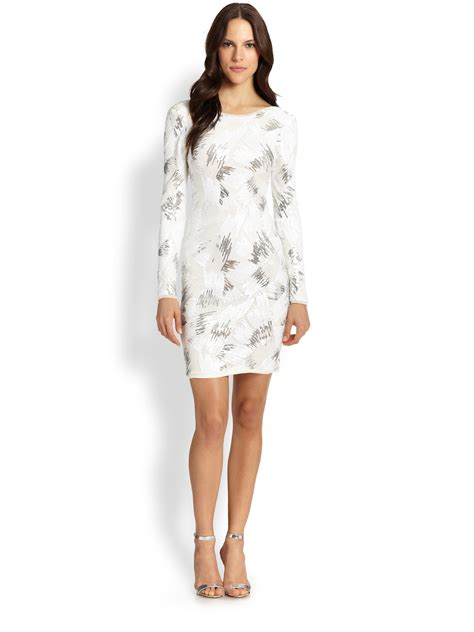 sleeve cocktail dress bcbgmaxazria sequin sleeve cocktail dress in white lyst