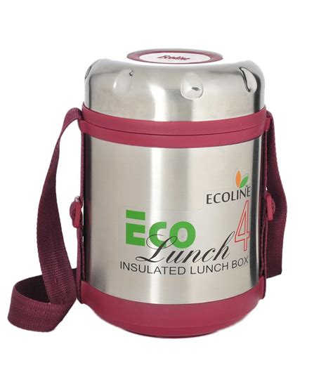 Eco Lunch Box Stainless Steel Rantang 1 Susun 2 ecoline 4 stainless steel containers insulated eco lunch box buy at best price in india