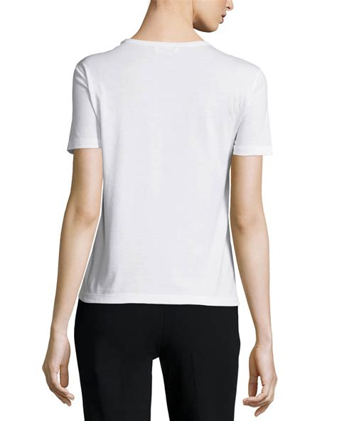 Bow Lace Sleeve T Shirt lyst valentino sleeve t shirt w lace bow in white