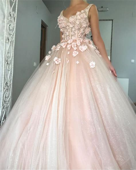v neck tulle gown floor length wedding dresses with flowers alinanova