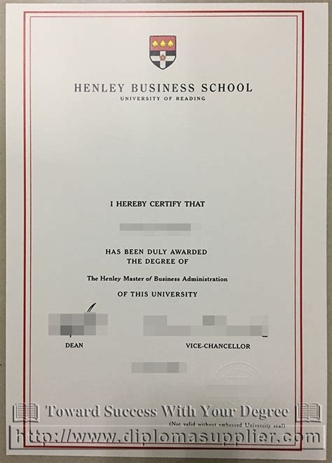 Degree Above Mba by Uk Henley Business School Mba Degree Certificate