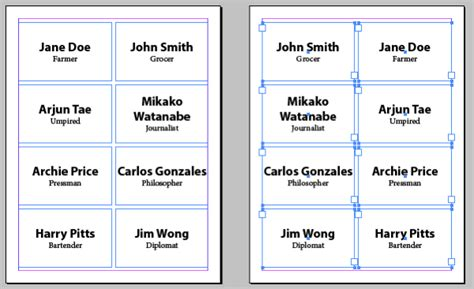 how to make printable name tags flipping frames to make front and back of page align