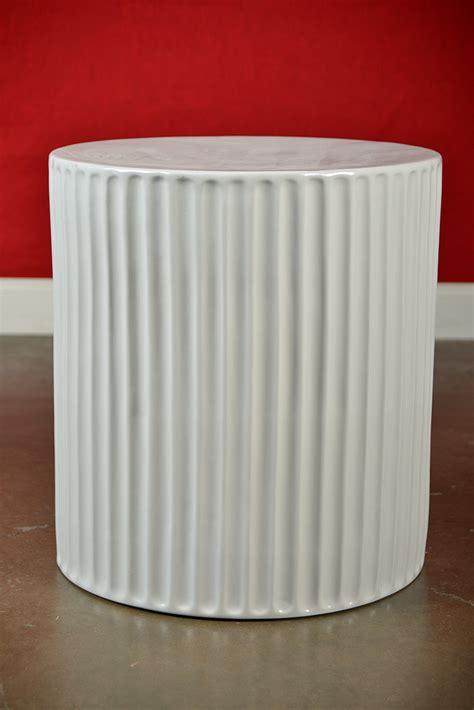 large white ceramic garden stool large white slim ribbed ceramic garden stool mecox gardens
