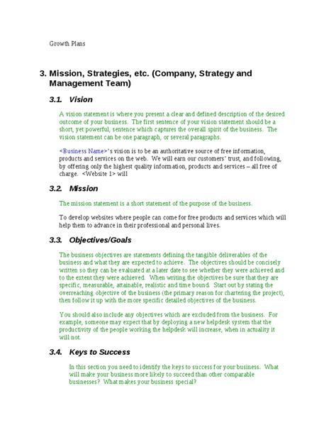 general business plan template exle of company description in a business plan