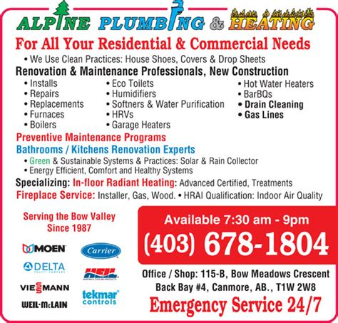 Ads Plumbing And Heating by Alpine Heating Plumbing Gas Canmore Ab 4 115b Bow