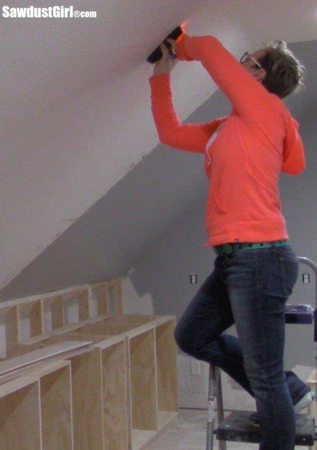 Finding Ceiling Studs by V Groove Plywood Plank Ceiling Sawdust 174